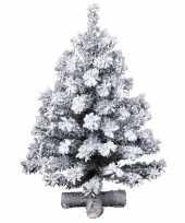 Besneeuwde kunst kerstboom op kruispoot 45 cm kunstbomen