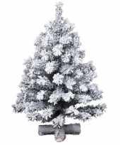 Besneeuwde kunst kerstboom op kruispoot 75 cm kunstbomen