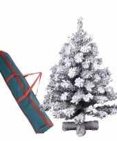 Kunst kerstboompje groen sneeuw 90 cm op kruis inclusief opbergzak