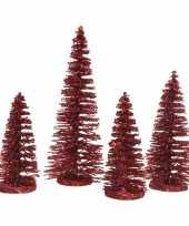 Rode kleine sier kerstboompjes 15 cm 4 stuks