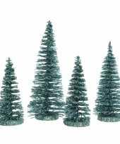 Smaragd groene mini sier kerstboompjes 15 cm 4 stuks